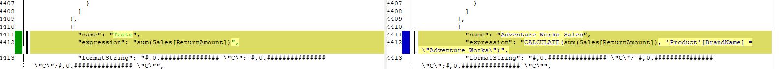 Screenshot of kdiff result